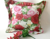 Roses Pillow, Pink and Red Roses, Rose Accent Pillow, Bedroom Pillow, Floral Throw Pillow, Red White and Pink, Flower Pillow