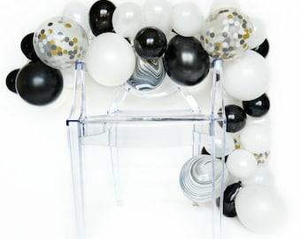 Balloon Garland Kit - Tuxedo - Black and White Balloon Garland - Black and White Party Decorations