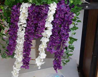 "Artificial Silk Wisteria Dark Purple Hanging Flowers Plants 64"" Purple Wisteria For Wedding Arch Flowers Vine 5 Stems Wedding Flower Garland"