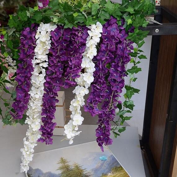 artificial silk wisteria dark purple hanging flowers plants. Black Bedroom Furniture Sets. Home Design Ideas