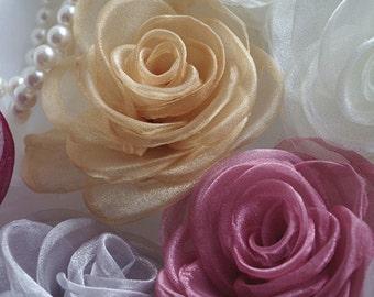 organza rosette flower, handmade chiffon flower, 2 pcs