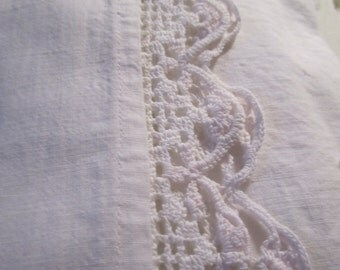 Vintage Bedsheet Cotton with Crochet Crocheted Border White