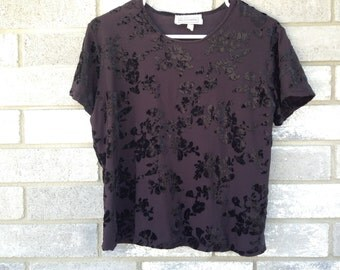 90s black crushed velvet floral cutout top
