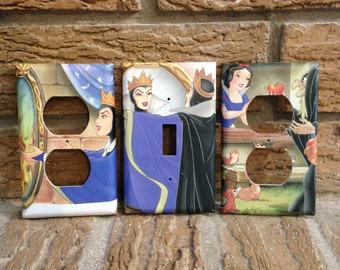 Snow White Evil Queen Light Switch Cover and Electrical Outlet Cover, Snow White Decor, Decoration, Mirror, Stepmother, Villain, Snow White