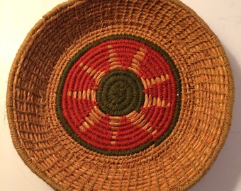 Coiled Woven Sisal Straw and Thread Basket Geometric Design