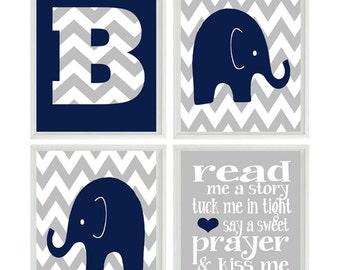 Elephant Nursery Art, Baby Boy Nursery, Read Me A Story Print , Navy Blue, Gray Nursery, Chevron Initial, Personalized Wall Art, Baby Boy