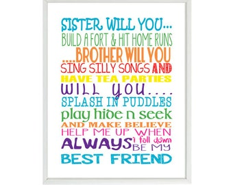 Brother Sister Art Print, Play Room Art, Sister Will You, Brother Will You, Colorful Art, Typography, Word Art, Brother And Sister, Gift