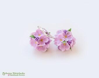 Earrings Lilac Syringa - Polymer Clay Flowers