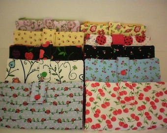 Fabric wallet with zipper compartment, 16 card slots, 2 hidden pockets - cherries & ladybugs