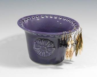 Pottery earring bowl - ceramic earring bowl - purple earring holder - handmade earring bowl - flowered jewelry holder O123