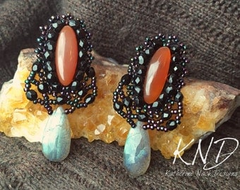"""Black Lace"""" Carnelian and Labradorite w/ Beaded lace detail"""