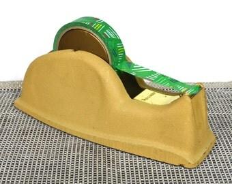 Large Cast Iron Permacel Tape Dispenser in Honey Gold   Heavy Metal Scotch/Masking Tape Holder w Gold Trim & Gold Plastic Dispensing Roller