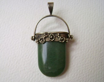 jade and flowers, a sterling pendant