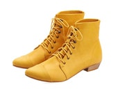 Yellow Leather handmade boots / High Polly-Jean lace up yolk flat Boots by Tamar Shalem