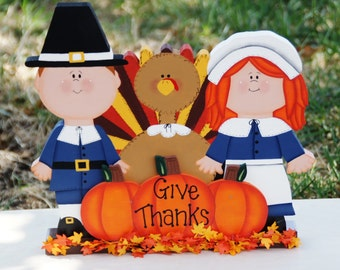 Pilgrims with Turkey and Pumpkins Table, Shelf or Mantle Sitter - Wood Thanksgiving Decoration
