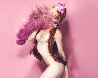 Luxury bespoke burlesque nipple tassels / 'Le Beau' thong and under wire open bra set