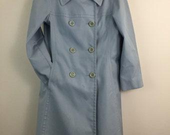 Vintage London Fog Trench Coat Size 10 Powder Blue Spring/Fall Lightweight Coat USA