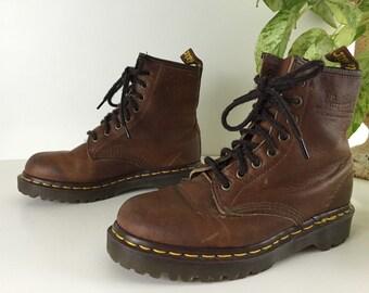 Vintage Dr. Marten Work Leather Boots Woman's Size 7 1/2 1980's Doc Marten Boots