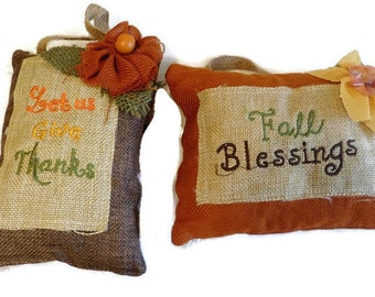 Rustic Fall Pillow Hangings, 5 Fall Decorations Supplies, Doorknob Fabric Pillows With Jute Hangers Fall Colors Pillows With Flowers