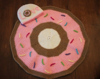 Donut Blanket and Hat set/ Donut blanket / Donut Hat/ Baby blanket and Hat/ Baby gift/ Baby shower gift/ Donut Gift/ Newborn photo prop