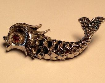 Vintage Silver Tone Fish Brooch, Silver Fish pin red Rhinestone, Large pin Animal