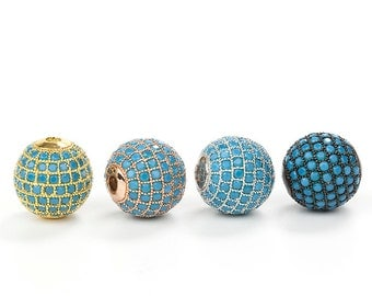Round Pave Beads, Turquoise CZ Pave Ball Bead, Disco Bead, 8mm 10mm 12mm Pkg of 1PCS, B0N0.RH0A.P01