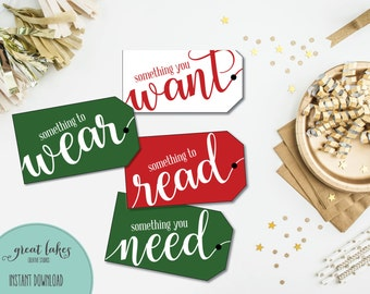 Christmas Gift Tags, Something you Want, Something you Need, Something to Wear, Something to Read, Printable Holiday Tags {INSTANT DOWNLOAD}