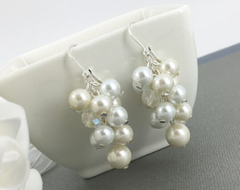 White Ivory Earrings Chunky Earrings Bridesmaid Earrings Bridesmaid Gift Cluster Earrings Bridal Party Jewelry Gift for Her Maid of Honor