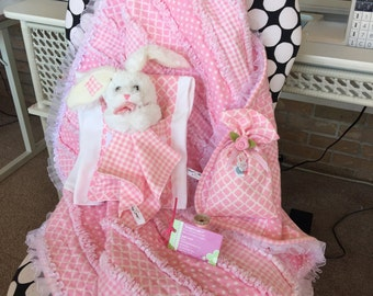 Baby Girl Raggy Quilt Ensemble - Made to order