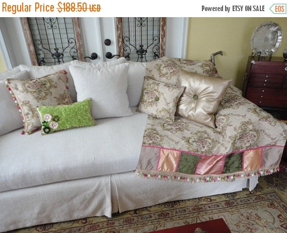 Decorative Throws For Sofas Pink Green Cream By