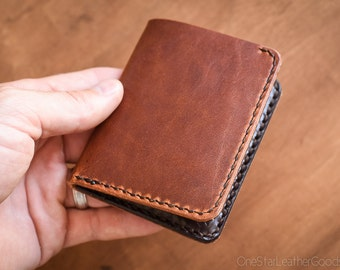 6 Pocket Horizontal wallet, hand stitched, Horween leather - cognac