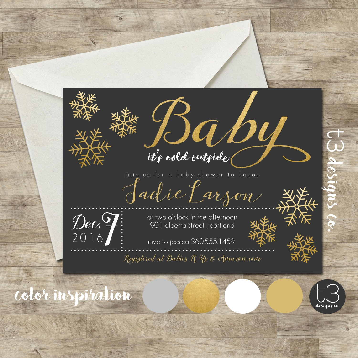 Snowflake Baby Shower Invitation, Winter Baby Shower Invitation, Snowflake  Invitation, Gold Winter Baby Shower, Winter Wonderland Baby