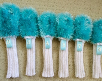 Turquoise Teal Furry Head covers