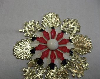 Vintage Red White Blue Enamel Brooch, 4th of July Jewelry, Patriotic Jewelry, S