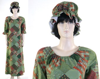 Adult Women's Patchwork Costume - Country Fair Dress - Dress & Duster Cap - Quilters Dress - Patchwork Print - Size 12/14 - Green With Envy