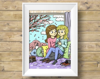 Back where you belong Illustration - Art print - Lesbian LGBTQ Romantic Spring Wall Art