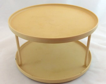vintage lazy susan 2 tiered rubbermaid carousel in tan rubbermaid lazy susan