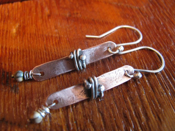 Picture Jasper,Copper & Sterling Silver Earrings,Hand Forged, Hand Cut, Mixed Metal, Mixed Media Earrings Boho Chic Toniraecreations