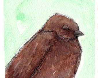 "4x6"" original little brown bird unframed painting a2n2koon mixed media art on watercolor paper ""sweet sleepyhead"" soft mint green in sleeve"