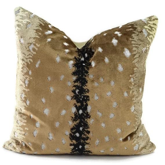Throw Pillow Cover Tan Black Amp Ivory Cut Velvet Animal Print