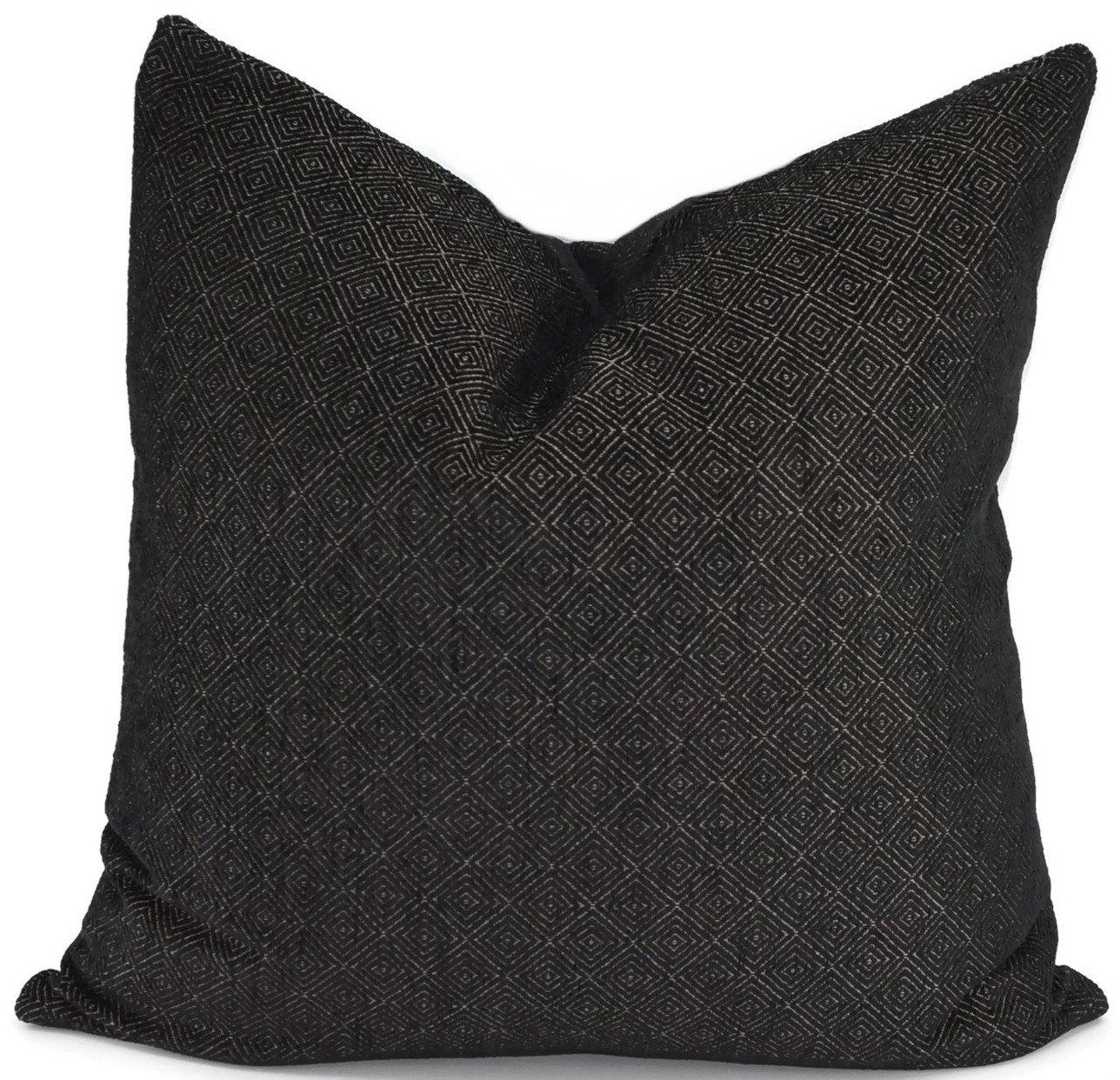 Black Chenille Throw Pillows : Black & Gold Diamond Print Chenille Pillow Cover Throw Pillow
