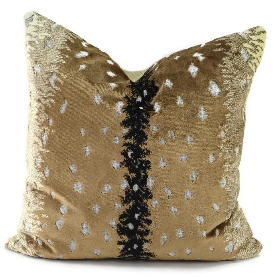 Black And Ivory Throw Pillows : Throw Pillow Cover Tan Black & Ivory Cut Velvet Animal Print