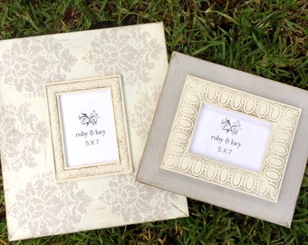 distressed picture frame 5x7 set of two neutral gray and cream damask | wedding decor | wedding gift | anniversary gift | nursery wall art