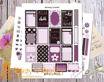 Relaxing Lavender Sticker Set for MAMBI The Happy Planner  Planner Accessory