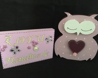 Free Standing Personalised owl - Birthday / nursery / Teacher / any color or message