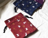 Cosmetic Bag - Rabbit and Fox (Pencil Case, Cosmetic Case, Makeup Pouch, Travel Bag)