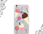 iPhone and Galaxy Soft TPU Phone Case Back Cover Sweet Desserts  Ice Cream Candies and Lollipops UV0318