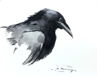 Crow art , American crow made for order