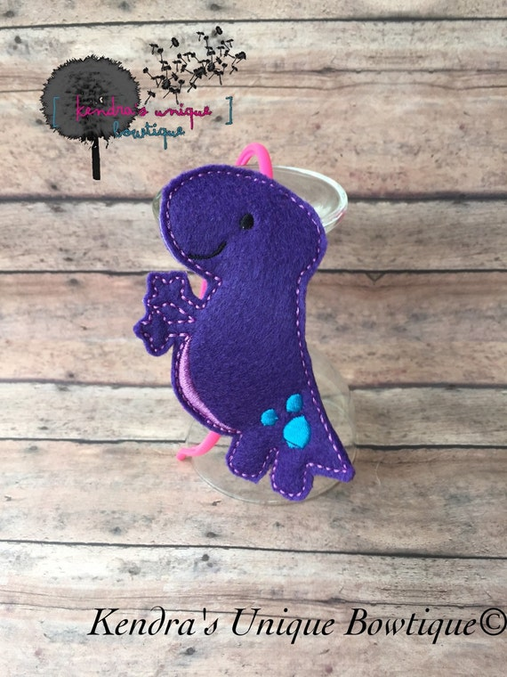 Dino Slider, dinosaur, t-rex, purple dino, headband, bookmarker, calendar marker, scapbooking supply, hair bow, baby hair bow,