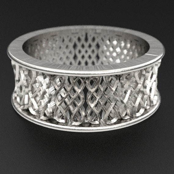 Celtic Wedding Ring With Endless Eternity Knot Design in Sterling Silver, Wedding Ring Made in Your Size CR-650